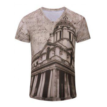 Trendy Men's 3D Building Printed Short Sleeves T-Shirt