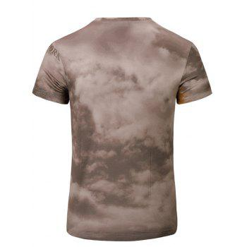 Casual Short Sleeves 3D Statue of Liberty Printed T-Shirt For Men - DEEP BROWN S