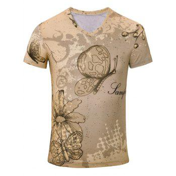 Casual Butterfly Flower Printed Men's Short Sleeves T-Shirt