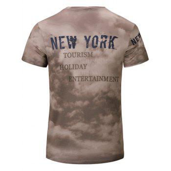 Casual Letter Printed Men's Short Sleeves T-Shirt - BROWN S