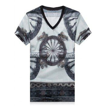 Plus Size V-Neck Wheel Printed Short Sleeve Men's T-Shirt