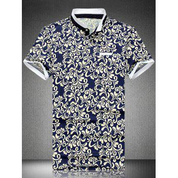 National Style Plus Size Turn-Down Collar Short Sleeve Men's Polo T-Shirt