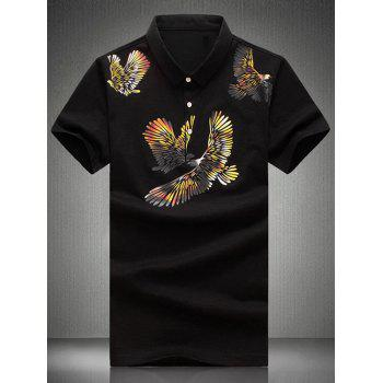 Plus Size Turn-Down Collar Eagles Print Short Sleeve Men's Polo T-Shirt
