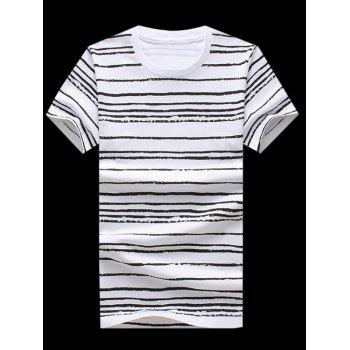Plus Size Round Neck Striped Printed Short Sleeve Men's T-Shirt