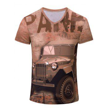3D Car and Letters Print Color Block V-Neck Short Sleeve Men's T-Shirt