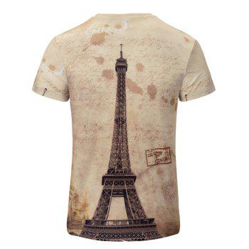 Iron Tower Print Color Block V-Neck Short Sleeve Men's T-Shirt - COLORMIX S
