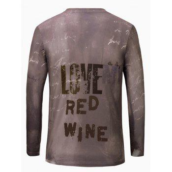 3D Wine Print Color Block V-Neck Long Sleeve Men's T-Shirt - COLORMIX S