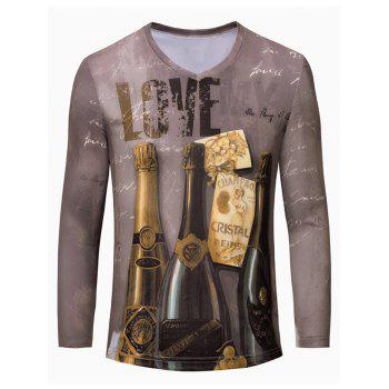 3D Wine Print Color Block V-Neck Long Sleeve Men's T-Shirt