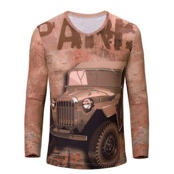 3D Letters and Car Print Color Block V-Neck Long Sleeve Men's T-Shirt