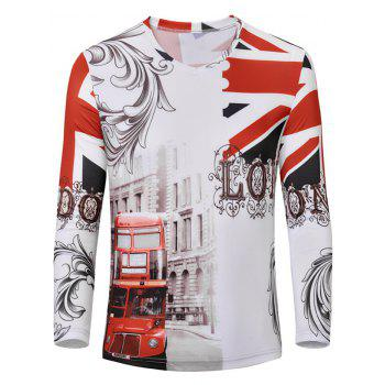 3D England Flag Print Color Block V-Neck Long Sleeve Men's T-Shirt
