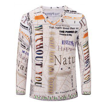 3D Letters Print Color Block V-Neck Long Sleeve Men's T-Shirt