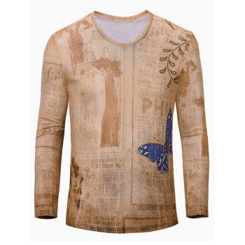 3D Butterfly Print Color Block V-Neck Long Sleeve Men's T-Shirt