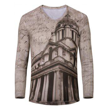 3D Building Print Color Block V-Neck Long Sleeve Men's T-Shirt