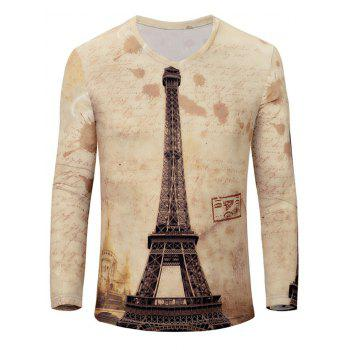 Iron Tower Print Color Block V-Neck Long Sleeve Men's T-Shirt