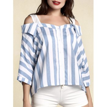 Striped 3 4 Sleeve Cut Out Blouse