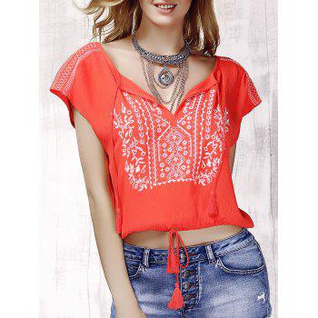 Stylish Women's V-Neck Embroidered Short Sleeve Drawsting Crop Top