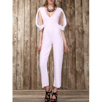 Stylish Women's Plunging Neckline Split Sleeve Solid Color Jumpsuit