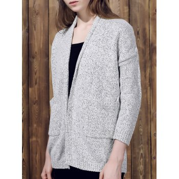 Collarless Long Sleeve Pocket Design Gray Cardigan