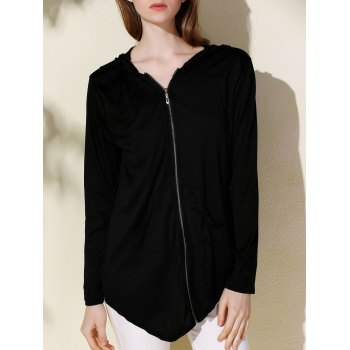 Casual Solid Color Hooded Irregular Long Sleeve Coat For Women