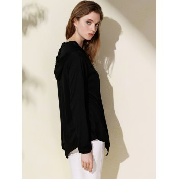Casual Solid Color Hooded Irregular Long Sleeve Coat For Women - BLACK 3XL