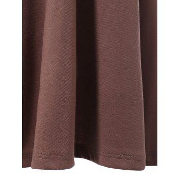 Fashionable Sleeveless Backless Solid Color Hollow Out Women's Dress - DEEP BROWN M