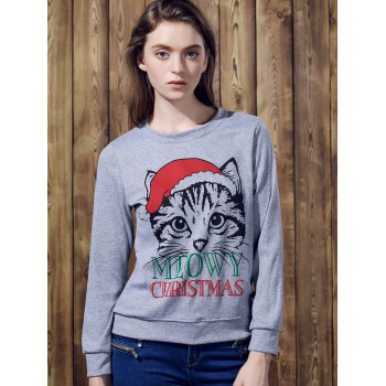 Cute Long Sleeve Round Neck Cat Print Women's Christmas Sweatshirt