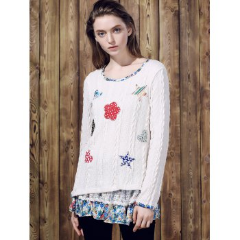 Casual Women's Jewel Neck Long Sleeves Applique Sweater - OFF WHITE L