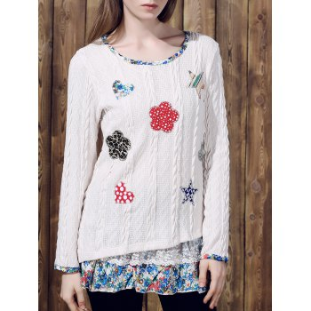 Casual Women's Jewel Neck Long Sleeves Applique Sweater