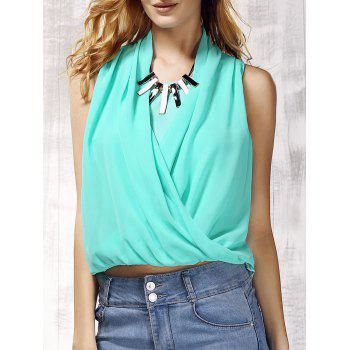 V Neck Chiffon Spliced Solid Color Women s Tank Top