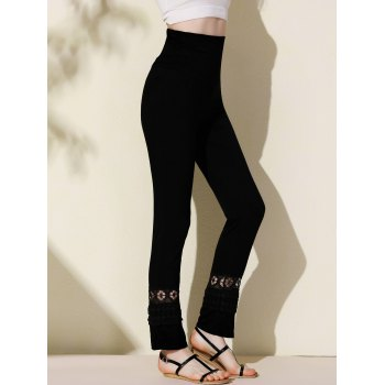 Stylish Elastic Waist Hollow Out Solid Color Women's Palazzo Pants - BLACK S