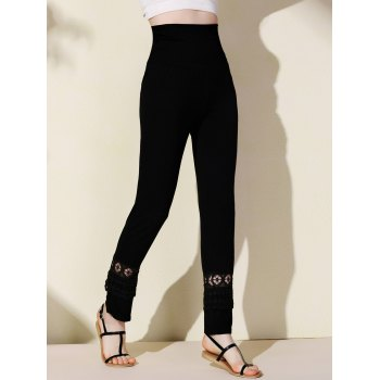 Stylish Elastic Waist Hollow Out Solid Color Women's Palazzo Pants