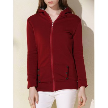 Simple Long Sleeves Hooded Pocket Design Women's Jacket