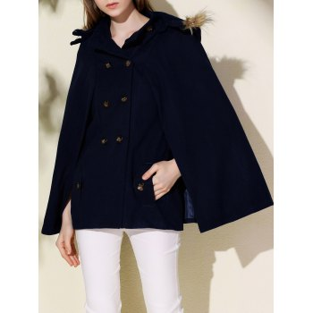 Fashionable Faux Fur Hooded Wool Coat For Women
