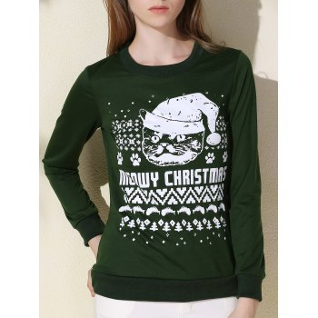 Sweet Round Collar Letter and Cat Printed Pullover Christmas Sweatshirt For Women