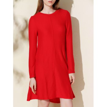 Simple Style Solid Color Round Collar Long Sleeve Knitted Dress For Women