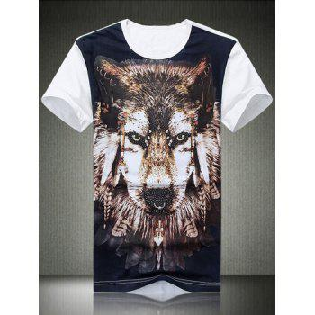 Round Neck Plus Size 3D Wolf Print Short Sleeve Men's T-Shirt