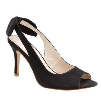 Graceful Slingback and Bow Design Women's Peep Toe Shoes