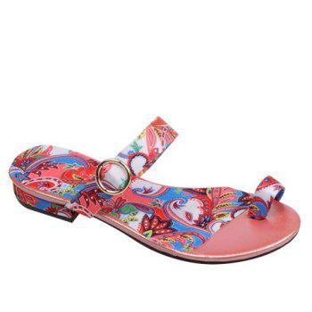 Toe Ring Printed Flat Slippers - RED 39