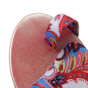 Toe Ring Printed Flat Slippers - 39 39