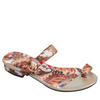 Toe Ring Printed Flat Slippers - APRICOT 38