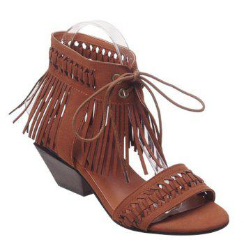 Stylish Fringe and Lace-Up Design Women's Sandals