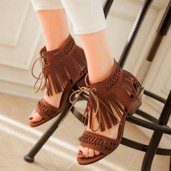 Stylish Fringe and Lace-Up Design Women's Sandals - BROWN 36