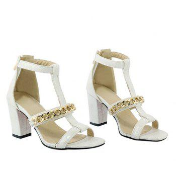 Graceful Chain and Chunky Heel Design Women's Sandals - WHITE 38