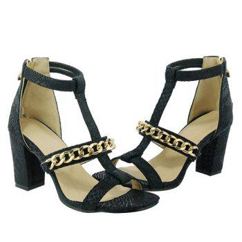 Graceful Chain and Chunky Heel Design Women's Sandals - BLACK BLACK