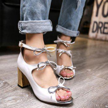 Stylish Bowknot and Chunky Heel Design Women's Sandals - WHITE WHITE