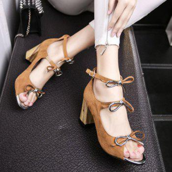 Stylish Bow and Chunky Heel Design Women's Sandals - 39 39