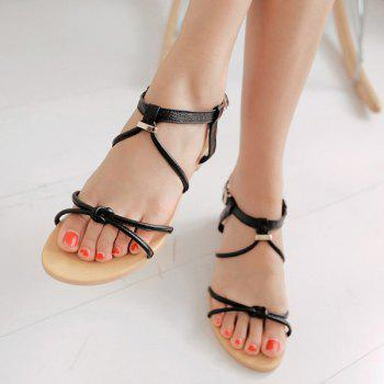 Casual Solid Color and Flat Heel Design Women's Sandals - BLACK 35