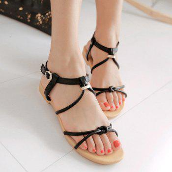 Casual Solid Color and Flat Heel Design Women's Sandals - 35 35