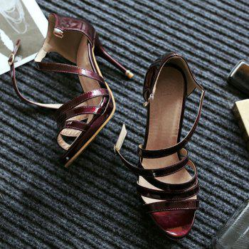 Stylish Patent Leather and Cross Straps Design Women's Sandals - 36 36