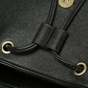 Casual Cover and Drawstring Design Women's Satchel - BLACK